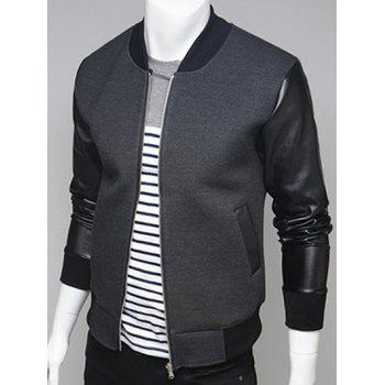Stand Collar PU Leather Splicing Zip Up Jacket