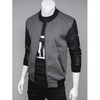 Stand Collar PU Leather Spliced Zip Up Jacket