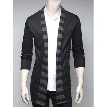 Turndown Collar Stripe Design Cardigan