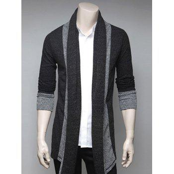 Turndown Collar Color Block Splicing Cardigan