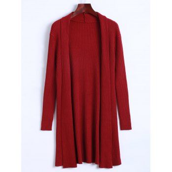 Solid Color Long Open Front Knit Cardigan