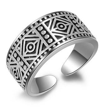 Vintage Geometric Carved Cuff Ring