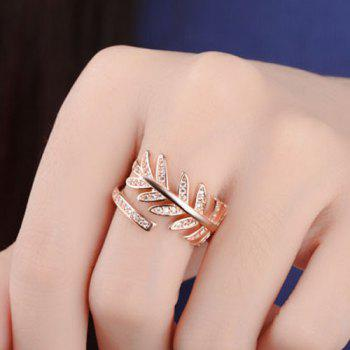 Rhinestoned Leaf Cuff Ring