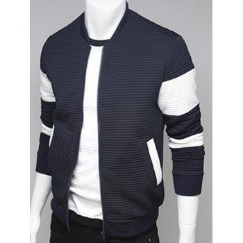 Stand Collar Paneled Ribbed Zip Up Jacket - CADETBLUE XL