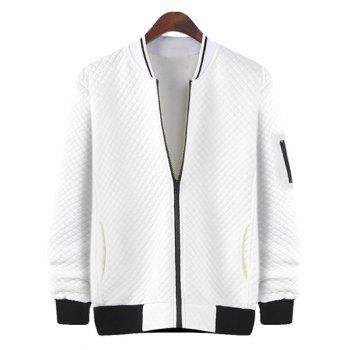 Stand Collar Rhombus Pattern Zip Up Jacket - WHITE M