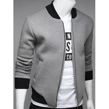 Rib Insert Side Pocket Zip Up Jacket - LIGHT GRAY LIGHT GRAY