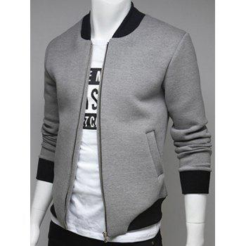 Rib Insert Side Pocket Zip Up Jacket