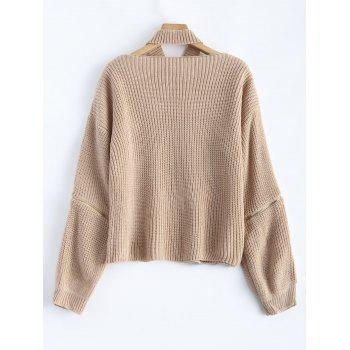 Chunky Zipper Design Sweater with Knitted Choker - APRICOT ONE SIZE