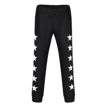 Star Printed Drawstring Jogger Pants