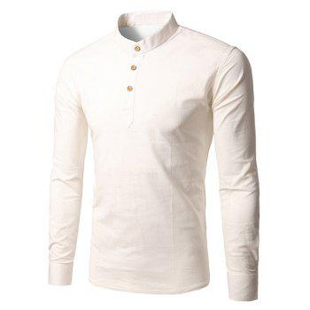 Buy Stand Collar Long Sleeve Half Button T-Shirt WHITE