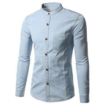 Grandad Collar Long Sleeve Denim Pocket Shirt