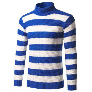 Slim Fit Roll Neck Striped Pullover Sweater