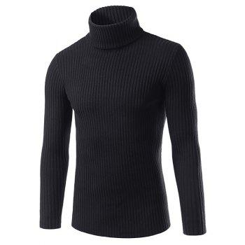 Slim Fit Roll Neck Ribbed Knitted Pullover Sweater