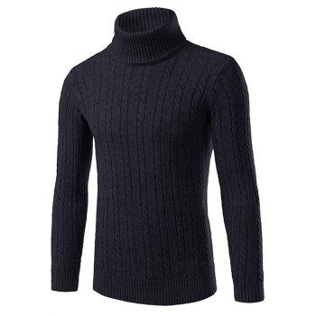 Slim Fit Roll Neck Cable Knitted Pullover Sweater