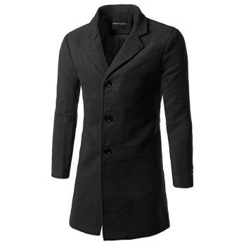 Lapel Single Breasted Slim Fit Wool Mix Coat - BLACK 5XL