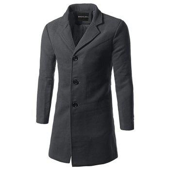 Lapel Single Breasted Slim Fit Wool Mix Coat - DEEP GRAY DEEP GRAY