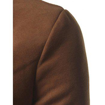 Lapel Single Breasted Slim Fit Wool Mix Coat - BROWN XL