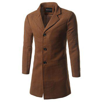 Lapel Single Breasted Slim Fit Wool Mix Coat - BROWN M