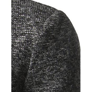Single Breasted Lapel Tweed Wool Blend Coat - BLACK 3XL