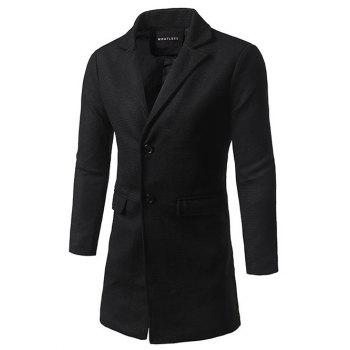 Single Breasted Lapel Tweed Wool Blend Coat - BLACK 2XL
