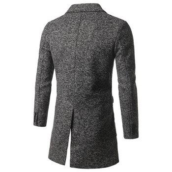 Single Breasted Lapel Tweed Wool Blend Coat - DEEP GRAY 5XL