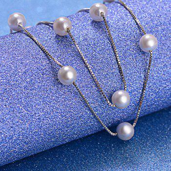 Artificial Pearl Adorn Beaded Necklace - WHITE