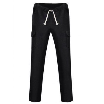 Pockets Design Lace Up Straight Leg Pants