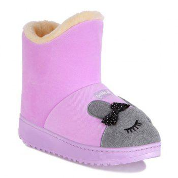 Platform Flock Cartoon Rabbit Snow Boots