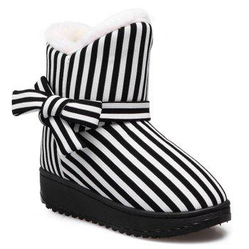 Bow Striped Platform Snow Boots