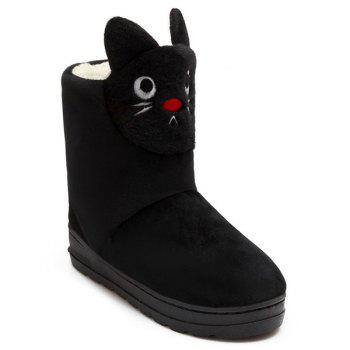 Platform Flock Cartoon Cat Snow Boots