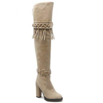 Fringe Criss-Cross Chunky Heel Thigh High Boots