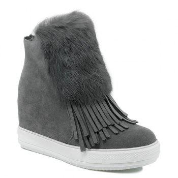Fringe Faux Fur Hidden Wedge Boots