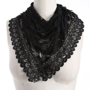 Openwork Wave Cut Edge Lace Triangle Scarf