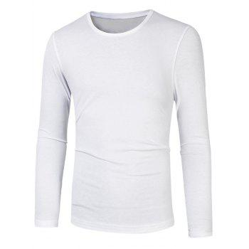 Slim Fit Round Neck Long Sleeve Basic Tee