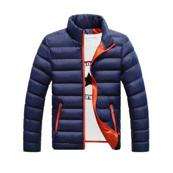 Funnel Neck Zipper Pocket Padded Jacket - DEEP BLUE 3XL