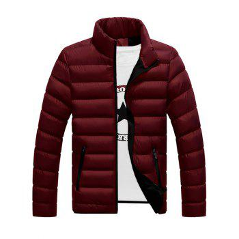 Funnel Neck Zipper Pocket Padded Jacket - DARK RED 2XL
