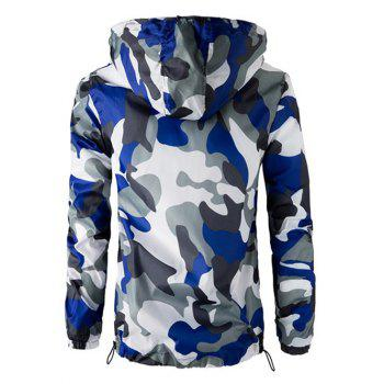 Zipper Up Hooded Camo Lightweight Jacket - BLUE 2XL