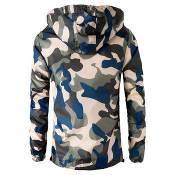 Zipper Up Hooded Camo Lightweight Jacket - BEIGE 3XL