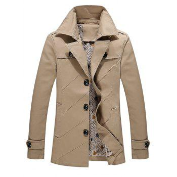 Multi Button Line Pattern Epaulet Design Coat - KHAKI KHAKI