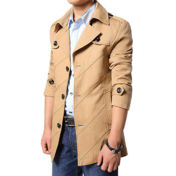 Multi Button Line Pattern Epaulet Design Coat - EARTHY L