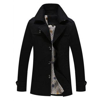 Multi Button Line Pattern Epaulet Design Coat - BLACK BLACK