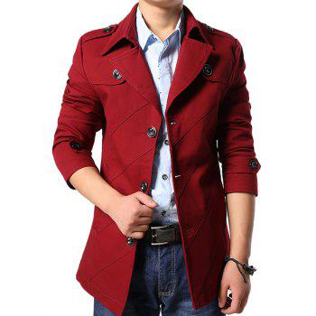 Multi Button Line Pattern Epaulet Design Coat - RED RED