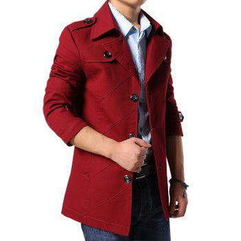 Multi Button Line Pattern Epaulet Design Coat - RED M