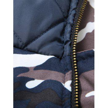 Zipper Up Camouflage Fur Hooded Padded Coat - CAMOUFLAGE COLOR CAMOUFLAGE COLOR