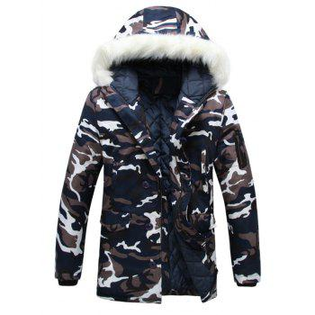 Zipper Up Camouflage Fur Hooded Padded Coat