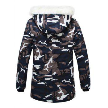 Zipper Up Camouflage Fur Hooded Padded Coat - CAMOUFLAGE M
