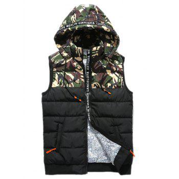 Zip Up Letter Camouflage Hooded Padded Waistcoat