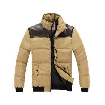 Stand Collar Zip Up PU Spliced Padded Jacket - KHAKI KHAKI