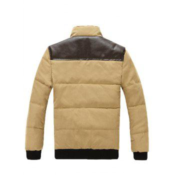 Stand Collar Zip Up PU Spliced Padded Jacket - M M
