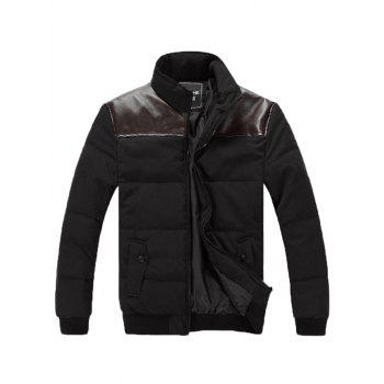 Stand Collar Zip Up PU Spliced Padded Jacket - BLACK L